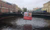 Неизвестные повесили на Поцелуев мост огромный плакат с портретами Бортко и Сталина: фото