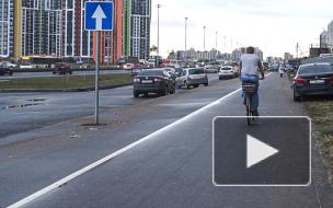 На Парашютной улице неизвестные нарисовали велодорожку. Ее не признают официально и называют опасной