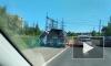 На Рябовском шоссе новая маршрутка съехала с трассы и перевернулась