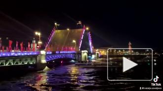 Ночью на Дворцовой набережной собралась толпа жителей Петербурга и туристов