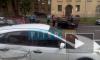 На Большеохтинском перевернулся автомобиль из-за ДТП