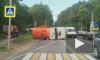 В Подмосковье автобус со школьниками врезался в бензовоз и опрокинул его