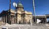 Момент обрушения фасада дома напротив Казанского собора попал на видео