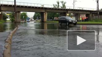 На Елизаровской после грозы случился потоп