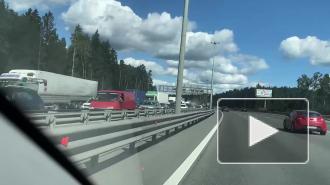 Массовое ДТП на КАД в районе Ржевки собрало четырехкилометровую пробку
