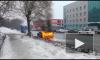 Появилось видео с горящим Lexus в Новосибирске на Фабричной улице