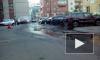 На Ленинском проспекте прорвало трубу с горячей водой