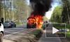 Видео: на Приморском шоссе сгорел автомобиль